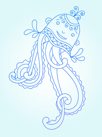 medusa: blue line drawing of sea monster, underwater decorative medusa, graphic design element for print or web, vector illustration eps10 Illustration
