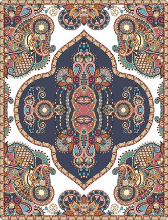 kilim: elaborate original floral large area carpet design for print on canvas or paper, ukrainian traditional style, vector illustration