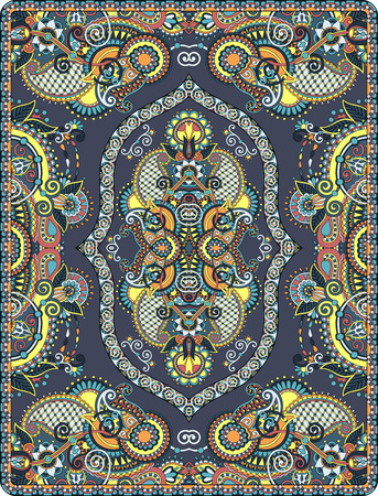 kelim: elaborate original floral large area carpet design for print on canvas or paper, ukrainian traditional style, vector illustration