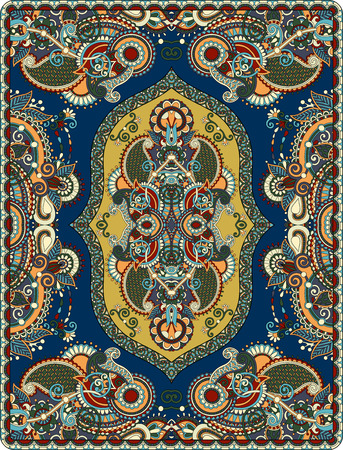 oriental rug: elaborate original floral large area carpet design for print on canvas or paper, ukrainian traditional style, vector illustration