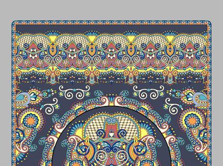 turkish: elaborate original floral large area carpet design for print on canvas or paper, ukrainian traditional style, vector illustration