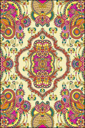 elaborate original floral large area carpet design for print on canvas or paper, ukrainian traditional style, vector illustration