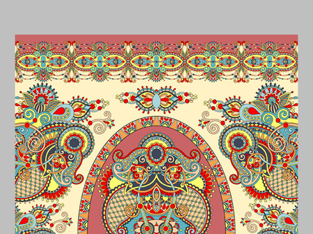 kilim: elaborate original floral large area carpet design for print on canvas or paper, ukrainian traditional style, vector illustration