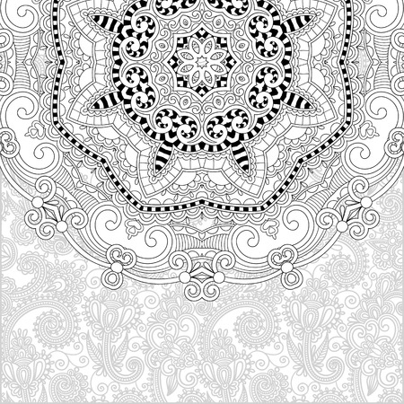 artistic: unique coloring book square page for adults - floral authentic carpet design, joy to older children and adult colorists, who like line art and creation, vector illustration