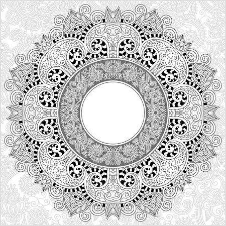 adults: unique coloring book square page for adults - floral authentic circle frame design, joy to older children and adult colorists, who like line art and creation, vector illustration Illustration