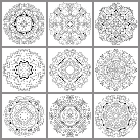 unique coloring book square page for adults - floral authentic circle design, joy to older children and adult colorists, who like line art and creation, vector illustration Illustration