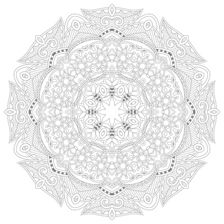 unique: unique coloring book square page for adults - floral authentic circle design, joy to older children and adult colorists, who like line art and creation, vector illustration Illustration