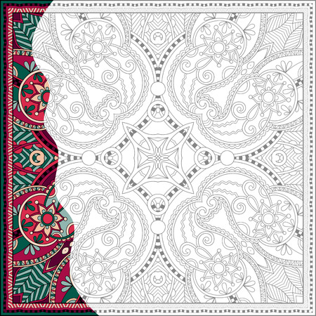 graphic artist: unique coloring book square page for adults - floral authentic carpet design, joy to older children and adult colorists, who like line art and creation, vector illustration