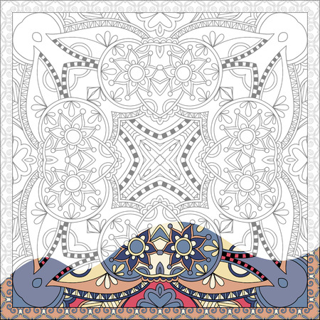 adult: unique coloring book square page for adults - floral authentic carpet design, joy to older children and adult colorists, who like line art and creation, vector illustration