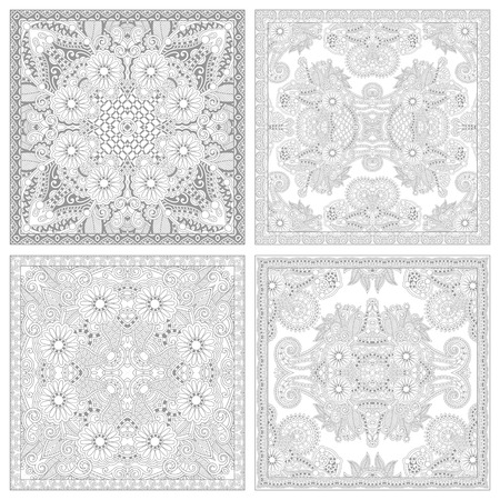 unique coloring book square page set for adults - floral authentic carpet design, joy to older children and adult colorists, who like line art and creation, vector illustration