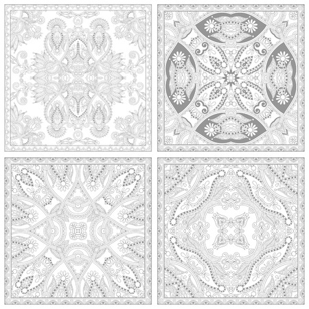 adult: unique coloring book square page set for adults - floral authentic carpet design, joy to older children and adult colorists, who like line art and creation, vector illustration