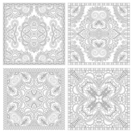 dibujos para colorear: único libro cuadrada página conjunto para colorear para los adultos - diseño de la alfombra auténtica floral, alegría para los niños mayores y adultos coloristas, que como línea de arte y creación, ilustración vectorial Vectores