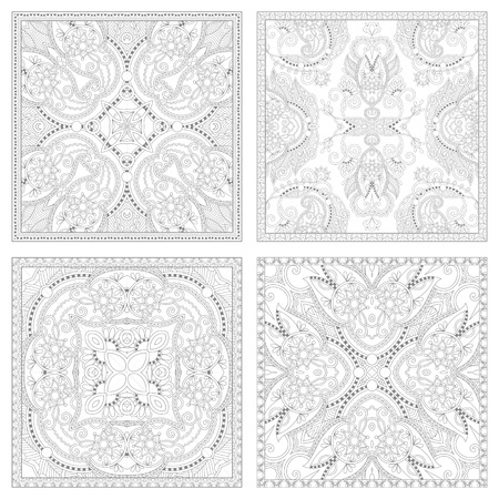 carpet design: unique coloring book square page set for adults - floral authentic carpet design, joy to older children and adult colorists, who like line art and creation, vector illustration