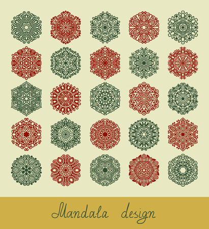 for design: set of 25 mandala design, circle ornament collection for print, or web, abstract round geometric pattern vector illustration Illustration