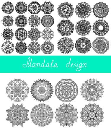 33 のマンダラのデザインの設定、印刷、または web、抽象的なラウンドの幾何学的なパターン ベクトル図の飾りコレクション サークル