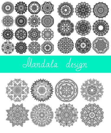 set of 33 mandala design, circle ornament collection for print, or web, abstract round geometric pattern vector illustration