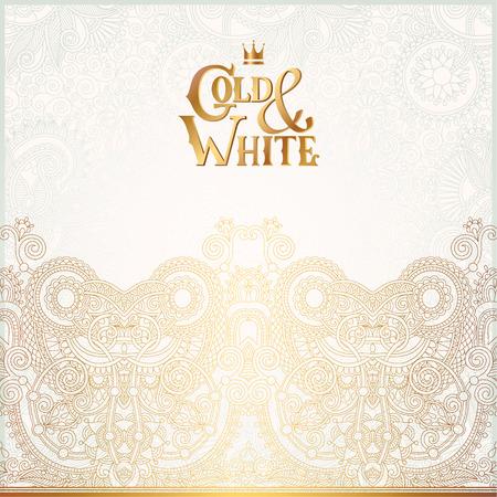 свадьба: Элегантный цветочный орнамент фон с надписью Золотые и белые, золотого декора на светлым рисунком, может быть использовать для приглашения, свадьба, открытки, обложки, Упаковочные, векторные иллюстрации Иллюстрация