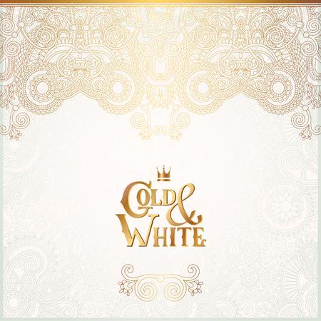 elegante: Fundo elegante ornamental floral com inscrição do ouro e branco, decoração dourada no padrão de luz, pode ser usado para o convite, casamento, cartão, tampa, paking, ilustração vetorial