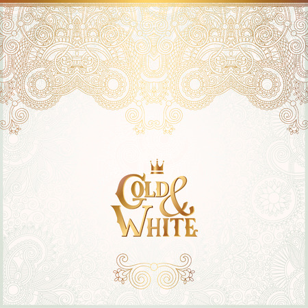 Fundo elegante ornamental floral com inscrição do ouro e branco, decoração dourada no padrão de luz, pode ser usado para o convite, casamento, cartão, tampa, paking, ilustração vetorial
