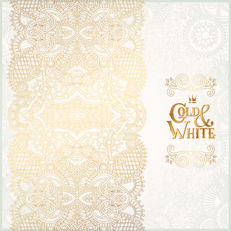 elegant floral ornamental background with inscription Gold and White, golden decor on light pattern, can be use for invitation, wedding, greeting card, cover, paking, vector illustration Vectores