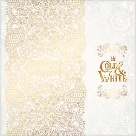 Elegante sfondo ornamentale floreale con iscrizione in oro e bianco, la decorazione dorata sul modello leggero, può essere utilizzato per l'invito, matrimonio, cartolina d'auguri, copertina, paking, illustrazione vettoriale Archivio Fotografico - 41964331