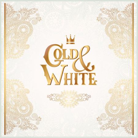 碑文ゴールドと白の光のパターン、黄金の装飾でエレガントな花装飾背景は招待状、結婚式、グリーティング カード、カバー、充填、ベクター グラフィックの使用をすることができます。 写真素材 - 41964333