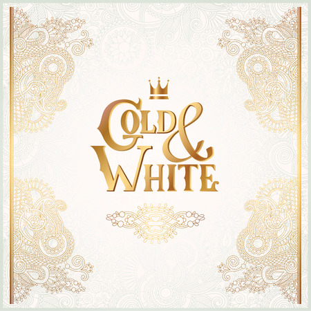 inscription: elegant floral ornamental background with inscription Gold and White, golden decor on light pattern, can be use for invitation, wedding, greeting card, cover, paking, vector illustration Illustration