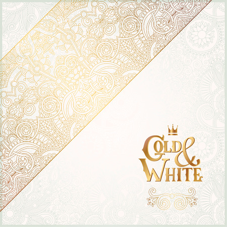 elegant floral ornamental background with inscription Gold and White, golden decor on light pattern, can be use for invitation, wedding, greeting card, cover, paking, vector illustration Ilustracja