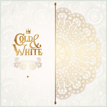 luxury background: elegant floral ornamental background with inscription Gold and White, golden decor on light pattern, can be use for invitation, wedding, greeting card, cover, paking, vector illustration Illustration
