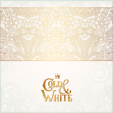 oriental ornament: elegant floral ornamental background with inscription Gold and White, golden decor on light pattern, can be use for invitation, wedding, greeting card, cover, paking, vector illustration Illustration