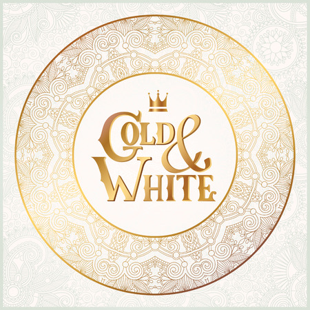 elegant floral circle background with inscription Gold and White, golden decor on light pattern, can be use for invitation, wedding, greeting card, cover, paking, vector illustration