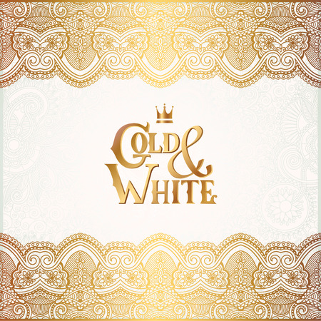 filigree border: elegant floral ornamental background with inscription Gold and White, golden decor on light pattern, can be use for invitation, wedding, greeting card, cover, paking, vector illustration Illustration