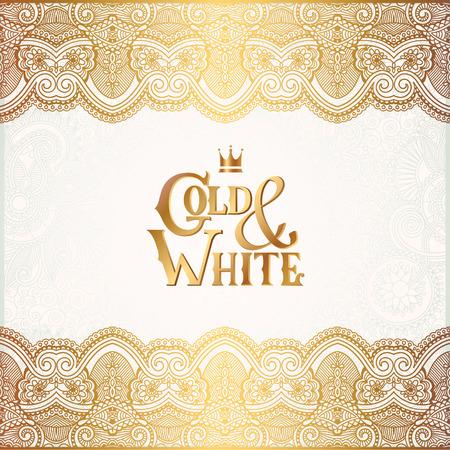 oro: elegante fondo ornamental floral con la inscripción del oro y blanco, la decoración de oro en el patrón de la luz, se puede utilizar para la invitación, boda, tarjetas de felicitación, cubierta, paking, ilustración vectorial Vectores