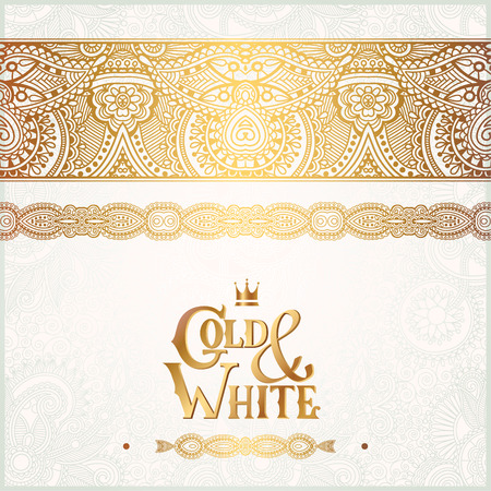 white wedding: elegant floral ornamental background with inscription Gold and White, golden decor on light pattern, can be use for invitation, wedding, greeting card, cover, paking, vector illustration Illustration