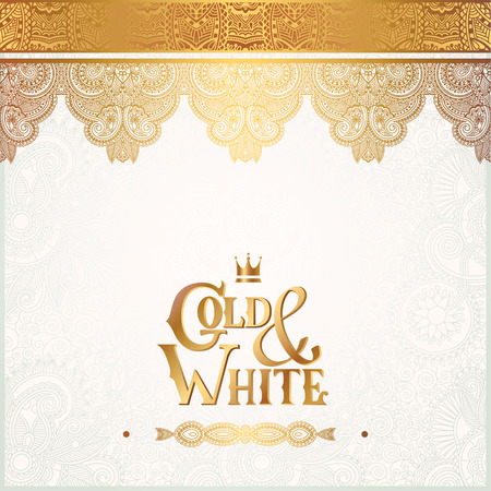 elegant white: elegant floral ornamental background with inscription Gold and White, golden decor on light pattern, can be use for invitation, wedding, greeting card, cover, paking, vector illustration Illustration