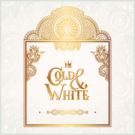 golden light: elegant floral ornamental background with inscription Gold and White, golden decor on light pattern, can be use for invitation, wedding, greeting card, cover, paking, vector illustration Illustration