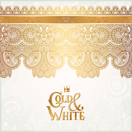 royals: elegant floral ornamental background with inscription Gold and White, golden decor on light pattern, can be use for invitation, wedding, greeting card, cover, paking, vector illustration Illustration