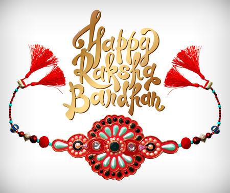 raksha bandhan: decorative handmade design for Indian holiday of sisters and brothers with rakhi and inscription Happy Raksha Bandhan, vector illustration