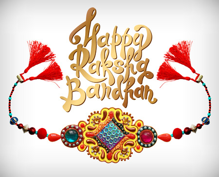 sisters: decorative handmade design for Indian holiday of sisters and brothers with rakhi and inscription Happy Raksha Bandhan, vector illustration