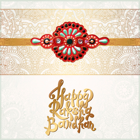 auspicious: original handmade rakhi on floral background with lettering Happy Raksha Bandhan for indian festival sisters and brothers, vector illustration Illustration