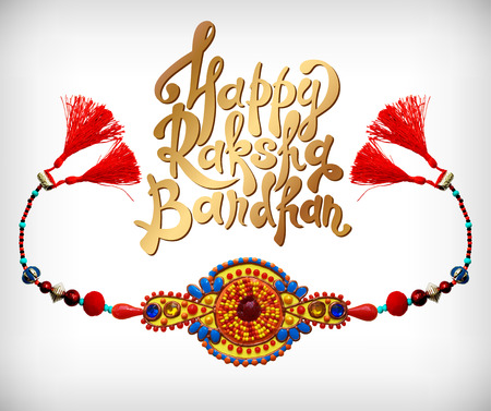 pearls and threads: decorative handmade design for Indian holiday of sisters and brothers with rakhi and inscription Happy Raksha Bandhan, vector illustration