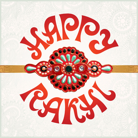bhai: Happy Rakhi greeting card for indian holiday Raksha Bandhan with original handmade bangle with gold and jewel on floral light background, vector illustration
