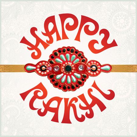 indian light: Tarjeta de felicitaci�n feliz de Rakhi para vacaciones indio Raksha Bandhan con brazalete originales hechos con oro y joyas sobre fondo claro floral, ilustraci�n vectorial