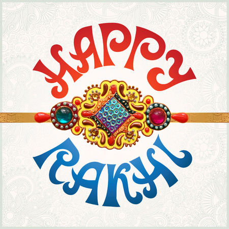 raksha: Happy Rakhi greeting card for indian holiday Raksha Bandhan with original handmade bangle with gold and jewel on floral light background, vector illustration