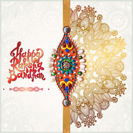rakhi: original handmade rakhi on floral background with lettering Happy Raksha Bandhan for indian festival sisters and brothers, vector illustration Illustration