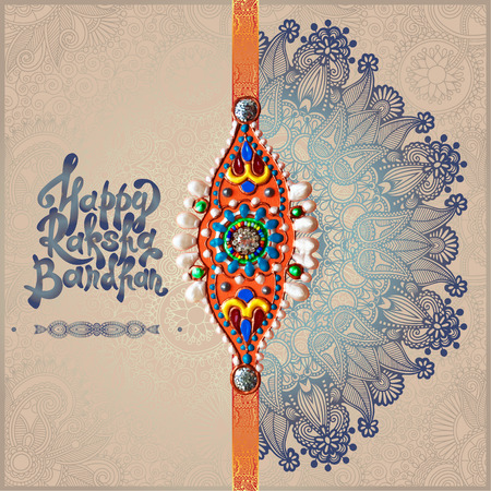 sisters: original handmade rakhi on floral background with lettering Happy Raksha Bandhan for indian festival sisters and brothers, vector illustration Illustration