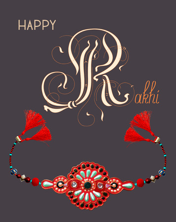 brothers: greeting card for indian festive sisters and brothers Raksha Bandhan with calligraphy inscription Happy Rakhi and original handmade bangle with gold and jewel on a dark background, vector illustration Illustration