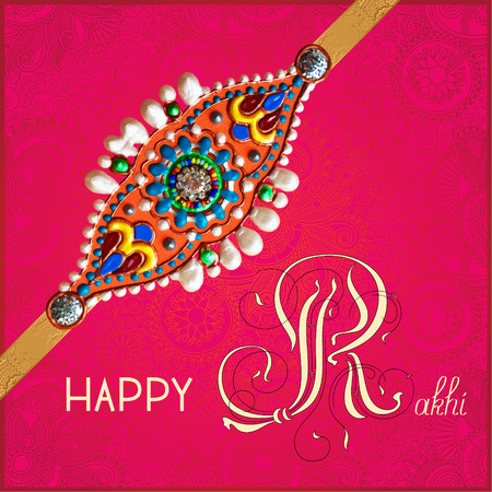 rakhi: Happy Rakhi greeting card for indian holiday Raksha Bandhan with original handmade bangle with gold and jewel on floral light background, vector illustration