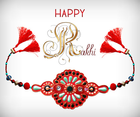 brothers: greeting card for indian festive sisters and brothers Raksha Bandhan with calligraphy inscription Happy Rakhi and original handmade bangle with gold and jewel, vector illustration
