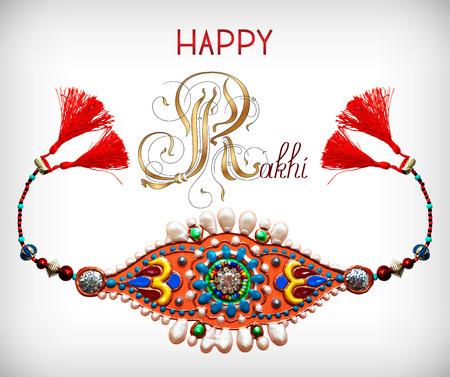 raksha: greeting card for indian festive sisters and brothers Raksha Bandhan with calligraphy inscription Happy Rakhi and original handmade bangle with gold and jewel, vector illustration